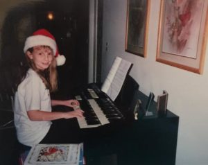 playing Christmas music on an organ as a child