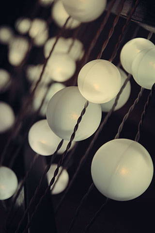 strands of glowing white orbs to represent ideas and curiousity