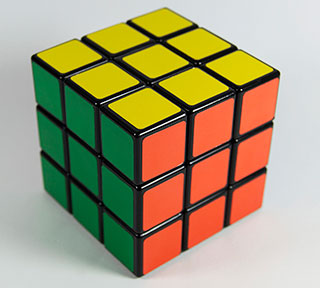 cube puzzle game that people play for entertainment and brain exercise