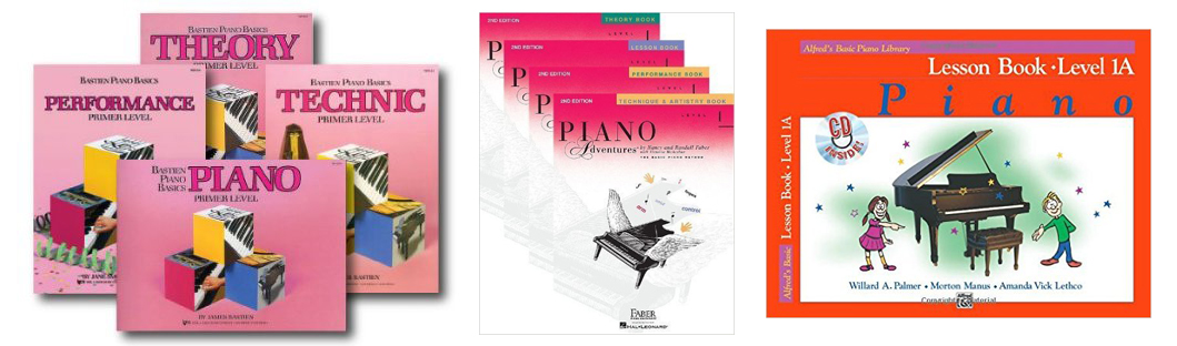 piano lesson method books Bastien, Faber and Alfred