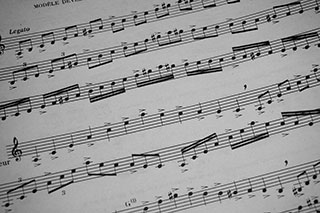 sheet music with musical patterns called scales