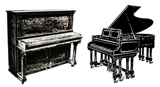 upright and grand pianos